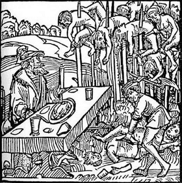German woodcut from 1499 showing Dracula dining among the impaled corpses of his victims
