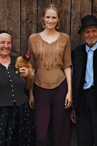 Anthropologie model with elders from the Romanian villages