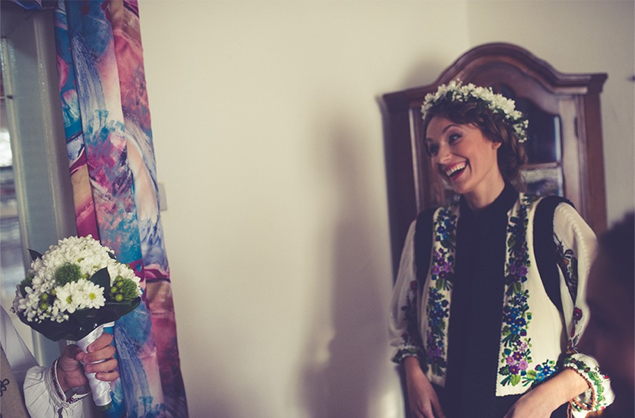 Bride smiling, bride flowers, Bucovina Traditions, Photo copyright Ovidiu Lesan