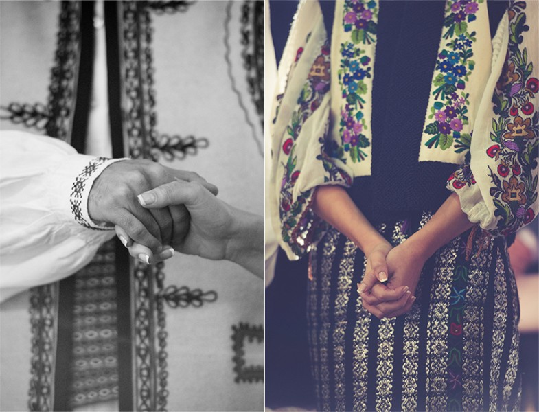 Hands, emotions, bride, traditional suits, Bucovina, Romania, Photo copyright Ovidiu Lesan